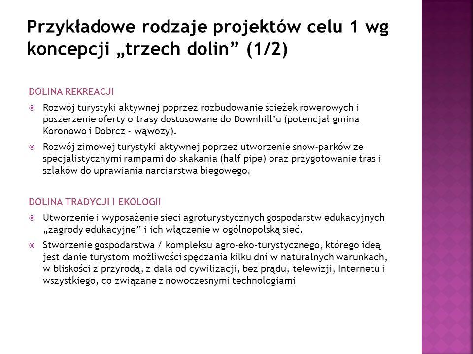 DOLINA REKREACJI Rozwój turystyki aktywnej poprzez rozbudowanie ścieżek rowerowych i poszerzenie oferty o trasy dostosowane do Downhillu (potencjał gmina Koronowo i Dobrcz - wąwozy).