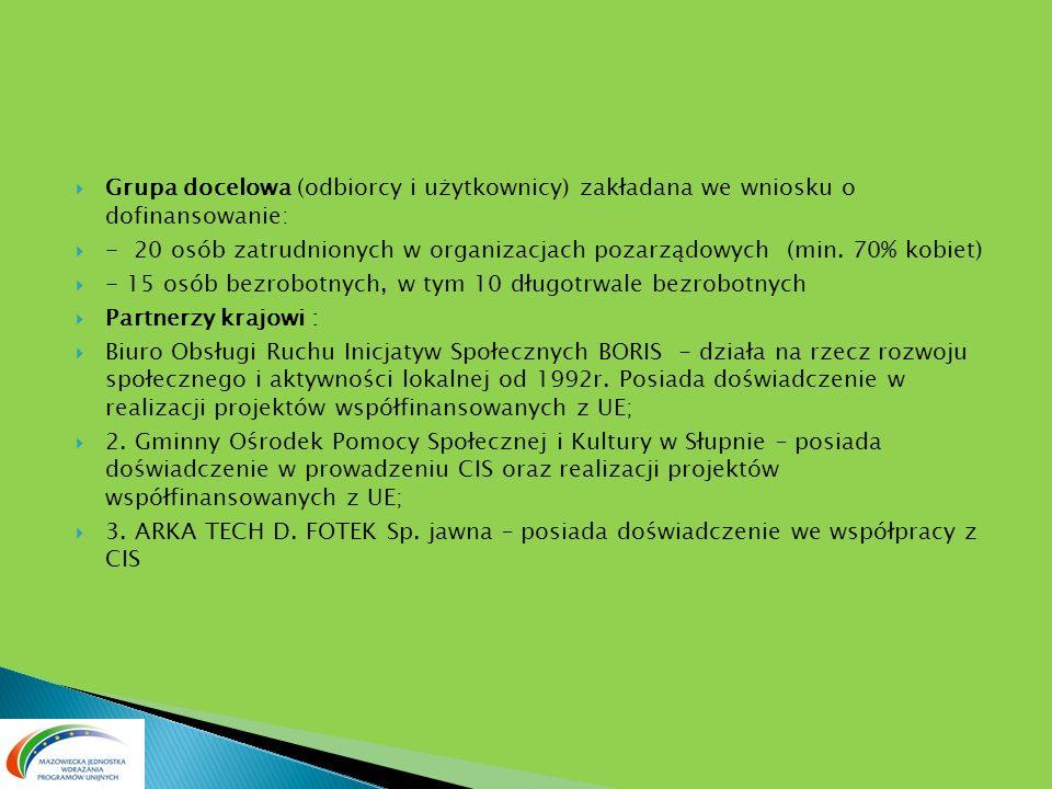 Grupa docelowa (odbiorcy i użytkownicy) zakładana we wniosku o dofinansowanie: - 20 osób zatrudnionych w organizacjach pozarządowych (min. 70% kobiet)
