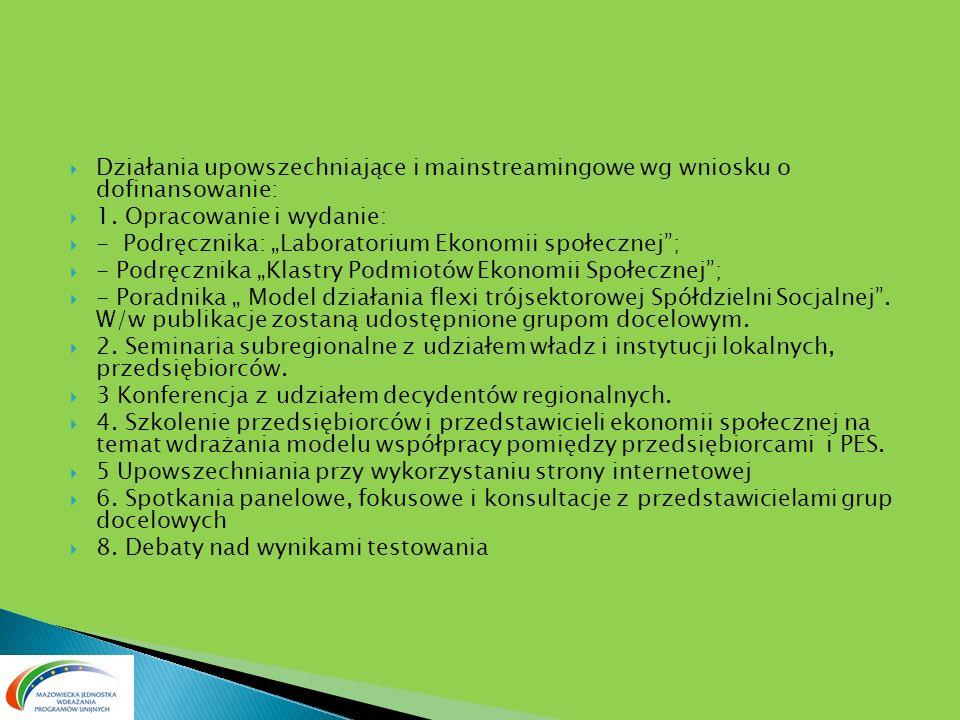 Działania upowszechniające i mainstreamingowe wg wniosku o dofinansowanie: 1. Opracowanie i wydanie: - Podręcznika: Laboratorium Ekonomii społecznej;