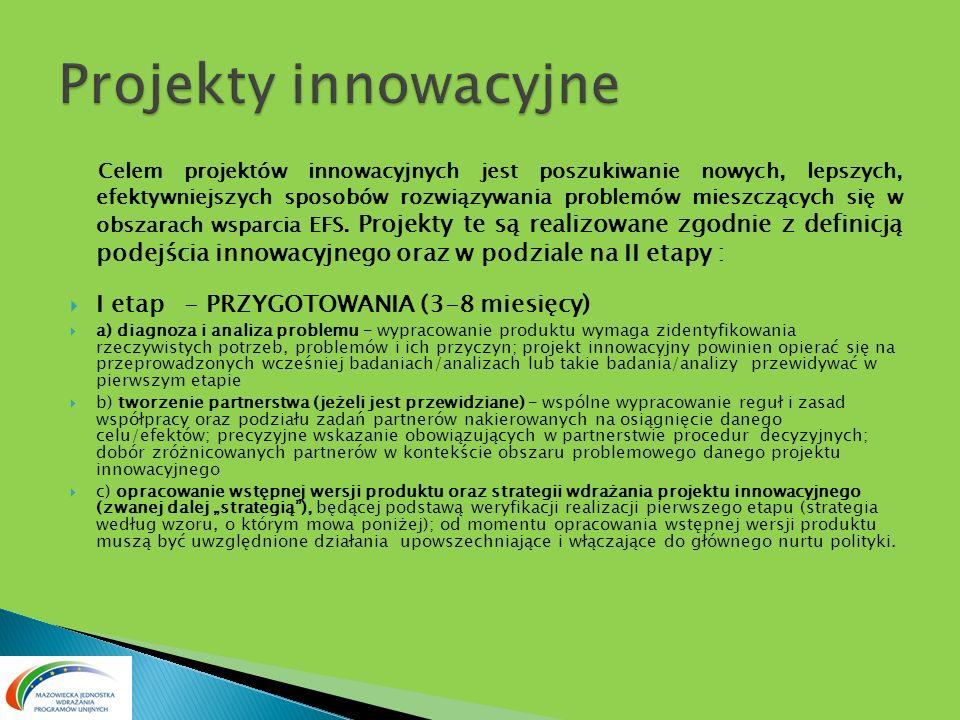 Celem projektów innowacyjnych jest poszukiwanie nowych, lepszych, efektywniejszych sposobów rozwiązywania problemów mieszczących się w obszarach wspar