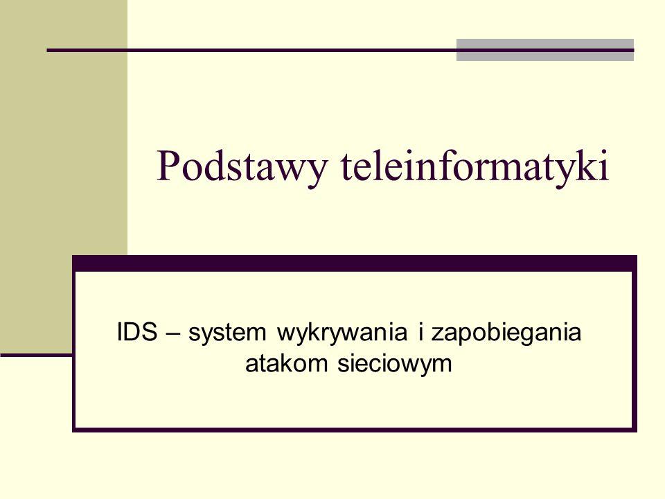 Podstawy teleinformatyki IDS – system wykrywania i zapobiegania atakom sieciowym