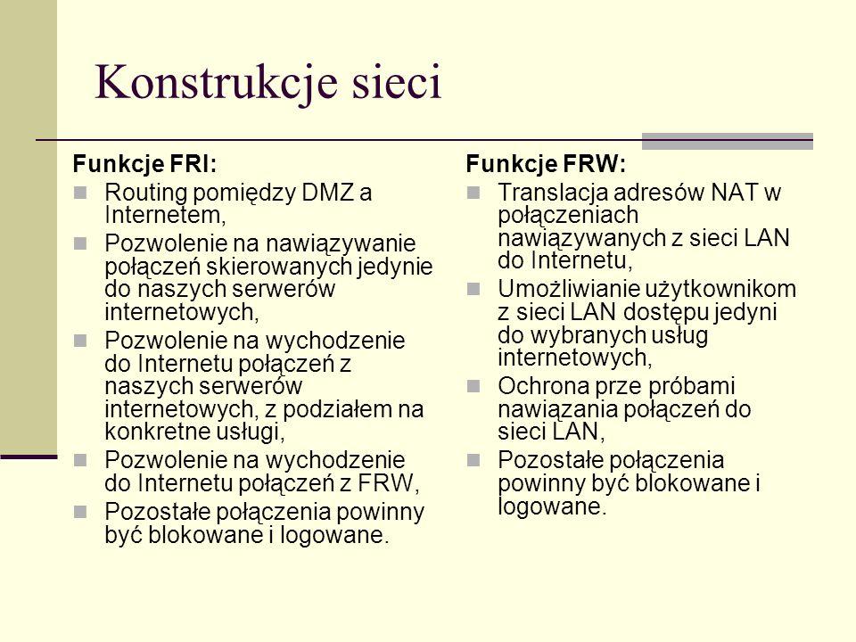 Konstrukcje sieci Funkcje FRI: Routing pomiędzy DMZ a Internetem, Pozwolenie na nawiązywanie połączeń skierowanych jedynie do naszych serwerów interne