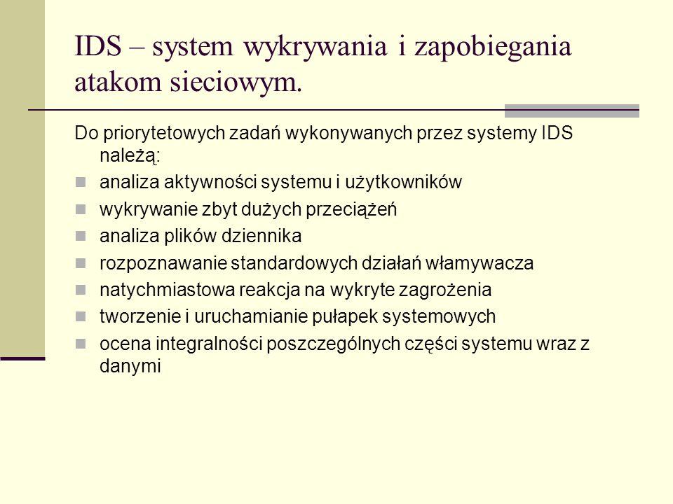 IDS – system wykrywania i zapobiegania atakom sieciowym. Do priorytetowych zadań wykonywanych przez systemy IDS należą: analiza aktywności systemu i u