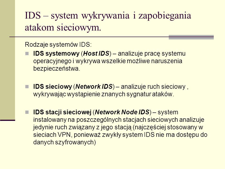 IDS – system wykrywania i zapobiegania atakom sieciowym. Rodzaje systemów IDS: IDS systemowy (Host IDS) – analizuje pracę systemu operacyjnego i wykry