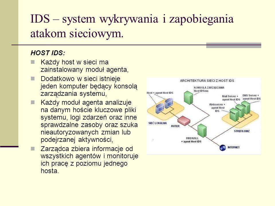 IDS – system wykrywania i zapobiegania atakom sieciowym. HOST IDS: Każdy host w sieci ma zainstalowany moduł agenta, Dodatkowo w sieci istnieje jeden