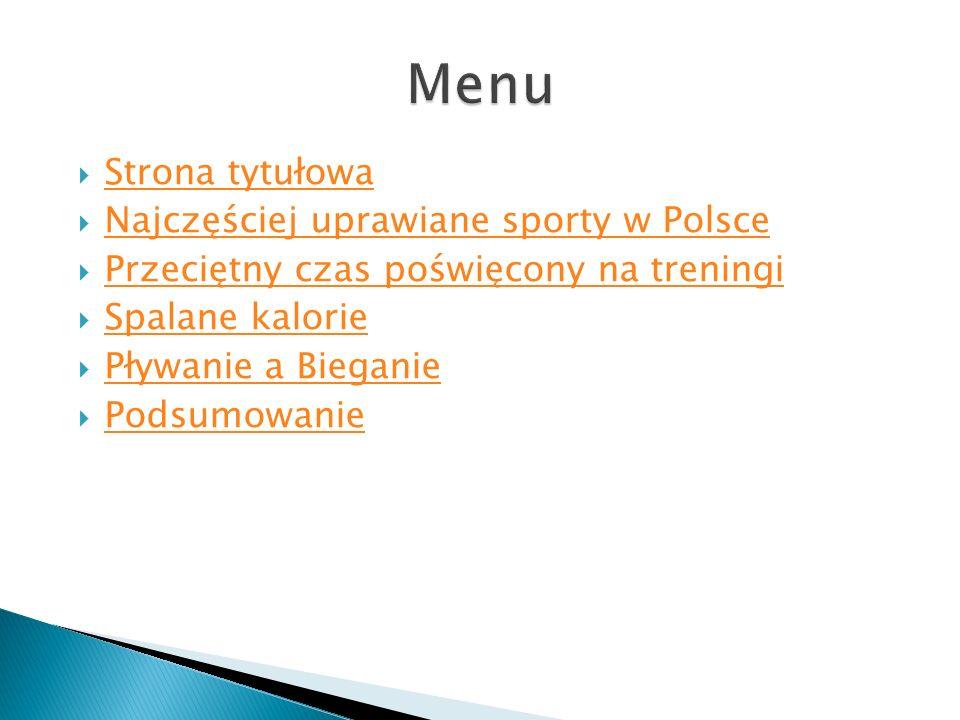 Strona tytułowa Najczęściej uprawiane sporty w Polsce Przeciętny czas poświęcony na treningi Spalane kalorie Pływanie a Bieganie Podsumowanie