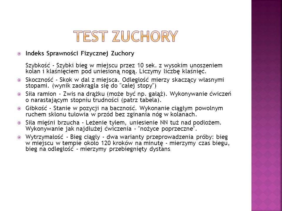 Indeks Sprawności Fizycznej Zuchory Szybkość - Szybki bieg w miejscu przez 10 sek.
