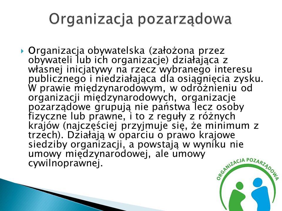 Organizacja obywatelska (założona przez obywateli lub ich organizacje) działająca z własnej inicjatywy na rzecz wybranego interesu publicznego i niedz