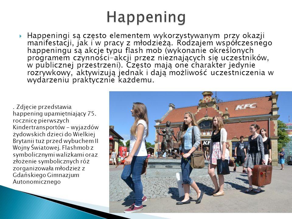 Happeningi są często elementem wykorzystywanym przy okazji manifestacji, jak i w pracy z młodzieżą. Rodzajem współczesnego happeningu są akcje typu fl