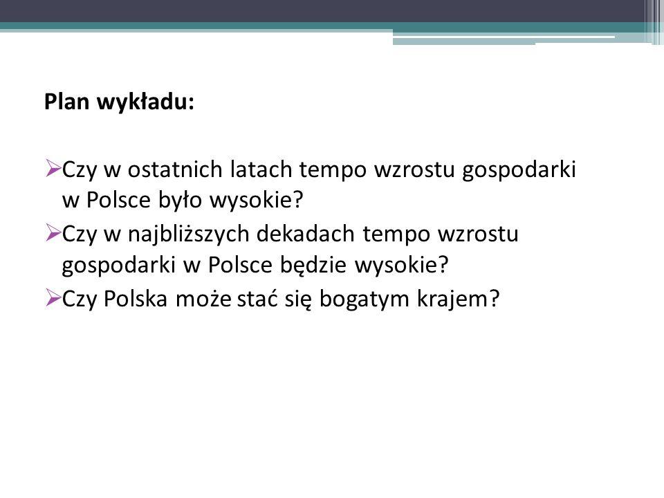 Plan wykładu: Czy w ostatnich latach tempo wzrostu gospodarki w Polsce było wysokie.