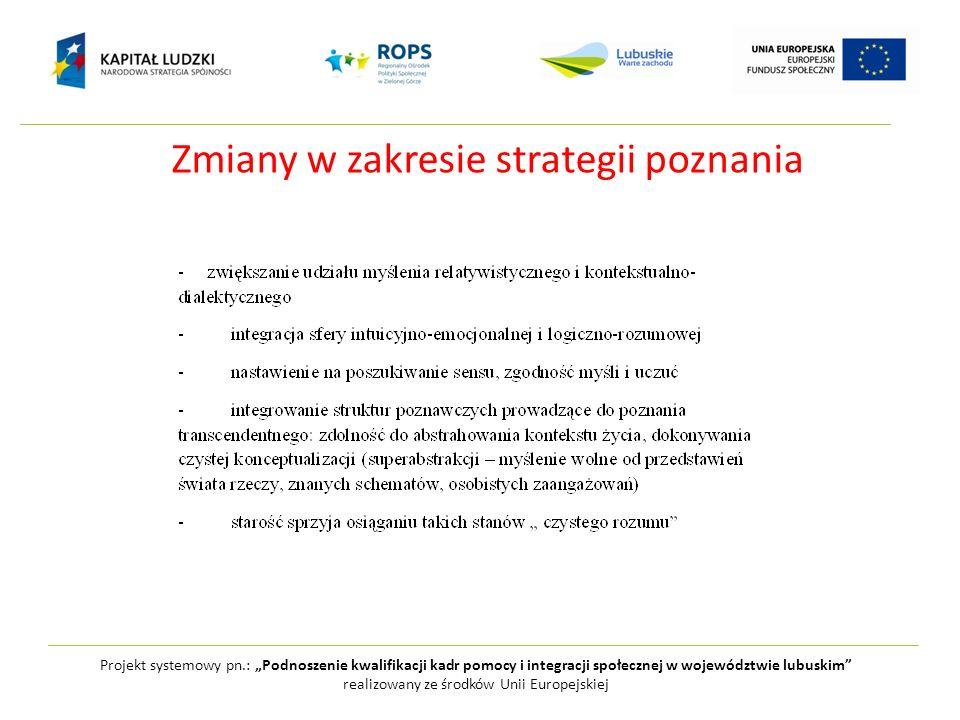 Zmiany w zakresie strategii poznania Projekt systemowy pn.: Podnoszenie kwalifikacji kadr pomocy i integracji społecznej w województwie lubuskim reali