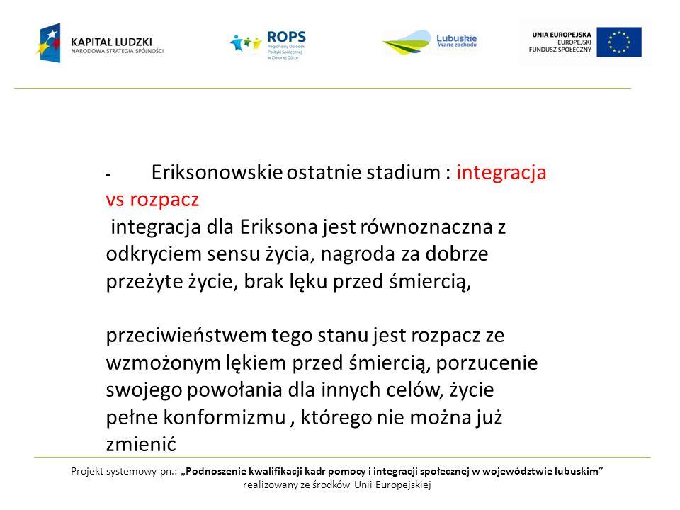 Projekt systemowy pn.: Podnoszenie kwalifikacji kadr pomocy i integracji społecznej w województwie lubuskim realizowany ze środków Unii Europejskiej -