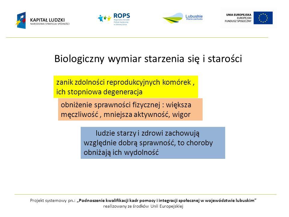 Biologiczny wymiar starzenia się i starości Projekt systemowy pn.: Podnoszenie kwalifikacji kadr pomocy i integracji społecznej w województwie lubuski