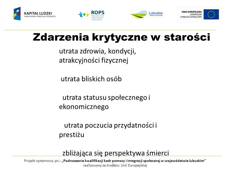 Zdarzenia krytyczne w starości Projekt systemowy pn.: Podnoszenie kwalifikacji kadr pomocy i integracji społecznej w województwie lubuskim realizowany