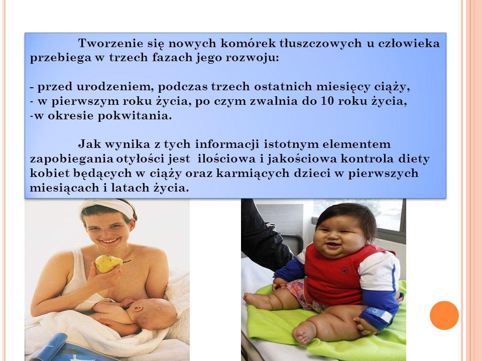Tworzenie się nowych komórek tłuszczowych u człowieka przebiega w trzech fazach jego rozwoju: - przed urodzeniem, podczas trzech ostatnich miesięcy ciąży, - w pierwszym roku życia, po czym zwalnia do 10 roku życia, - w okresie pokwitania.