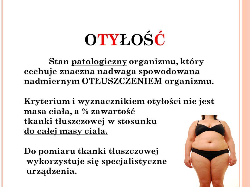 OTYŁOŚĆ Stan patologiczny organizmu, który cechuje znaczna nadwaga spowodowana nadmiernym OTŁUSZCZENIEM organizmu.