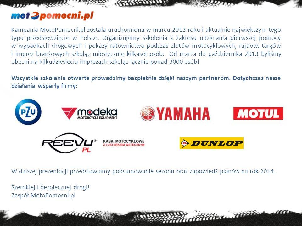 Partnerzy Współpracujemy z klubami motocyklowymi, organizatorami zlotów, targów, fundacjami, stowarzyszeniami propagującymi bezpieczną jazdę oraz z wieloma osobami aktywnie działającymi w środowisku motocyklistów w całej Polsce.