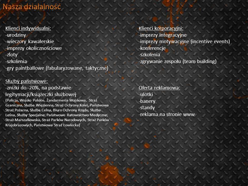 Klienci indywidualni: -urodziny -wieczory kawalerskie -imprezy okolicznościowe -zloty-szkolenia -gry paintballowe (fabularyzowane, taktyczne) Służby państwowe: -zniżki do -20%, na podstawie legitymacji/książeczki służbowej (Policja, Wojsko Polskie, Żandarmeria Wojskowa, Straż Graniczna, Służba Więzienna, Straż Ochrony Kolei, Państwowa Straż Pożarna, Służba Celna, Biuro Ochrony Rządu, Służba Leśna, Służby Specjalne, Państwowe Ratownictwo Medyczne, Straż Marszałkowska, Straż Parków Narodowych, Straż Parków Krajobrazowych, Państwowa Straż Łowiecka) Klienci korporacyjni: -imprezy integracyjne -imprezy motywacyjne (incentive events) -konferencje-szkolenia -zgrywanie zespołu (team building) Oferta reklamowa: -ulotki-banery-standy -reklama na stronie www