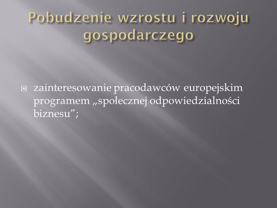 zainteresowanie pracodawców europejskim programem społecznej odpowiedzialności biznesu;