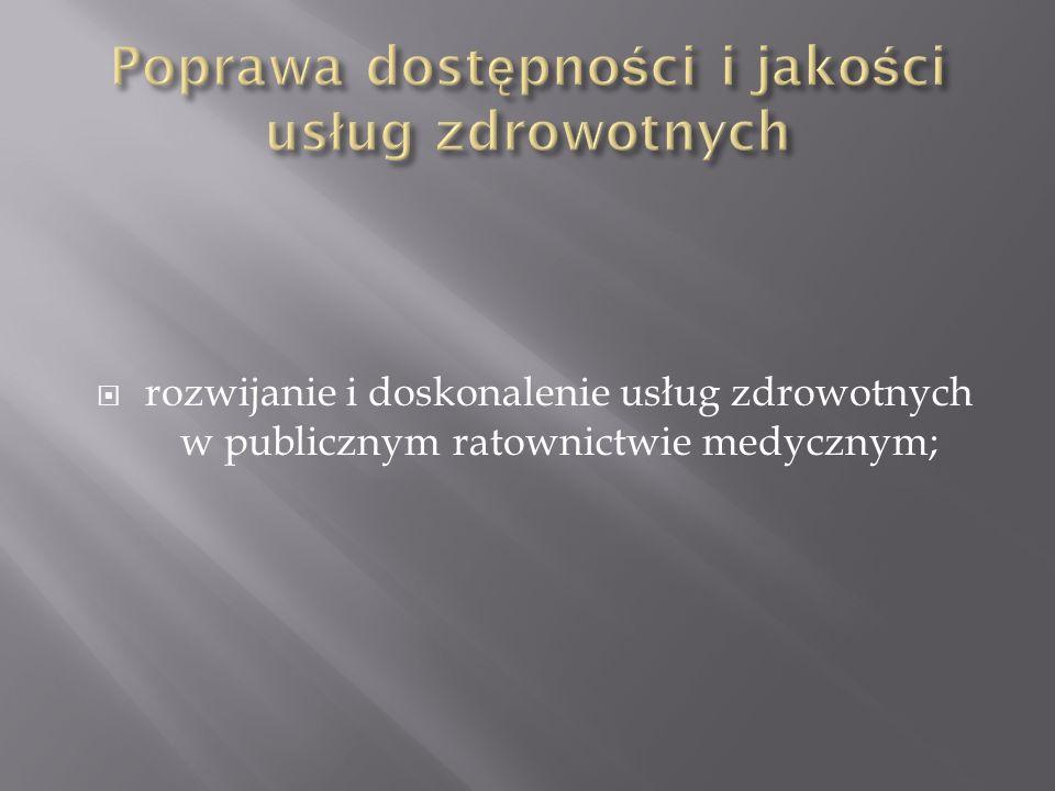 rozwijanie i doskonalenie usług zdrowotnych w publicznym ratownictwie medycznym;