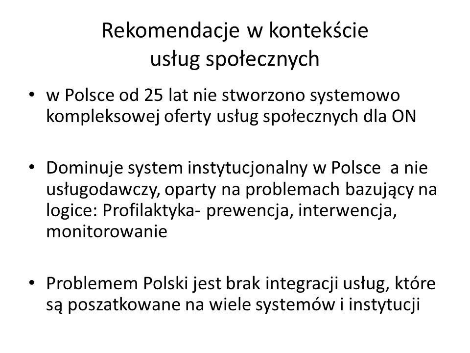 Rekomendacje w kontekście usług społecznych w Polsce od 25 lat nie stworzono systemowo kompleksowej oferty usług społecznych dla ON Dominuje system in