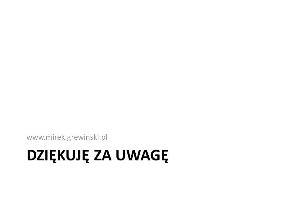 DZIĘKUJĘ ZA UWAGĘ www.mirek.grewinski.pl