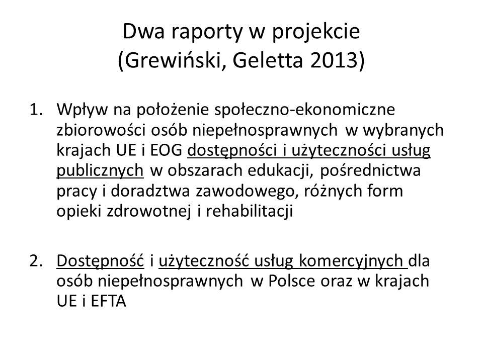 Dwa raporty w projekcie (Grewiński, Geletta 2013) 1.Wpływ na położenie społeczno-ekonomiczne zbiorowości osób niepełnosprawnych w wybranych krajach UE