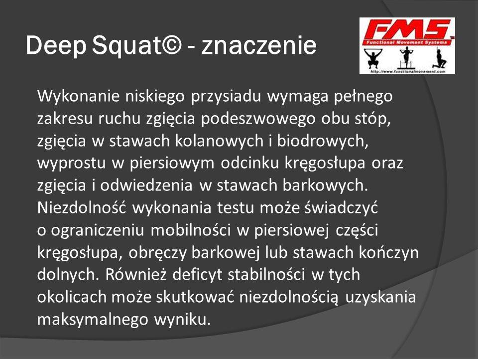 Deep Squat© - znaczenie Wykonanie niskiego przysiadu wymaga pełnego zakresu ruchu zgięcia podeszwowego obu stóp, zgięcia w stawach kolanowych i biodro