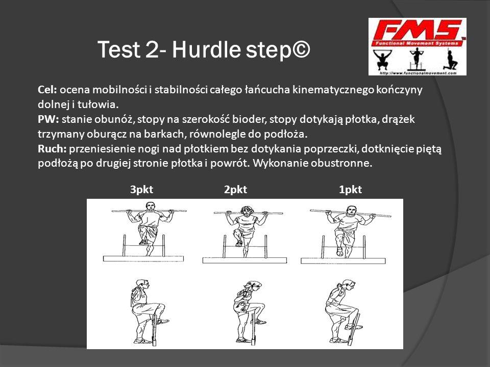 Test 2- Hurdle step© 3pkt 2pkt 1pkt Cel: ocena mobilności i stabilności całego łańcucha kinematycznego kończyny dolnej i tułowia. PW: stanie obunóż, s