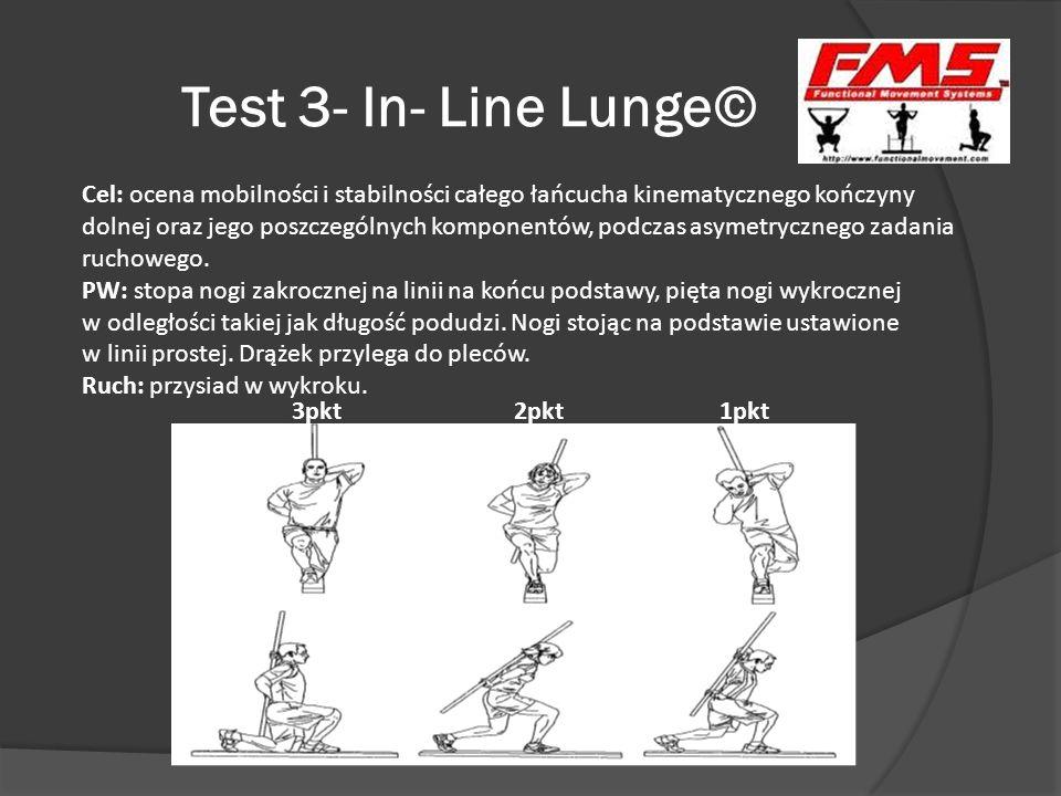 Test 3- In- Line Lunge© 3pkt 2pkt 1pkt Cel: ocena mobilności i stabilności całego łańcucha kinematycznego kończyny dolnej oraz jego poszczególnych kom