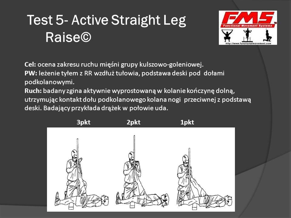 Test 5- Active Straight Leg Raise© 3pkt 2pkt 1pkt Cel: ocena zakresu ruchu mięśni grupy kulszowo-goleniowej. PW: leżenie tyłem z RR wzdłuż tułowia, po