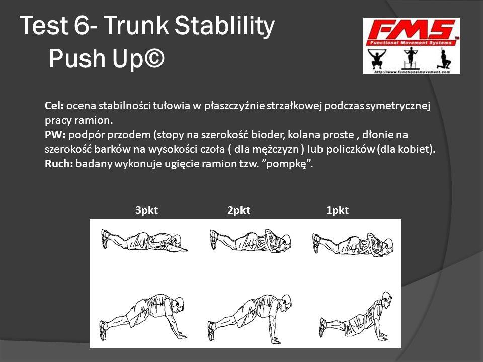 Test 6- Trunk Stablility Push Up© 3pkt 2pkt 1pkt Cel: ocena stabilności tułowia w płaszczyźnie strzałkowej podczas symetrycznej pracy ramion. PW: podp