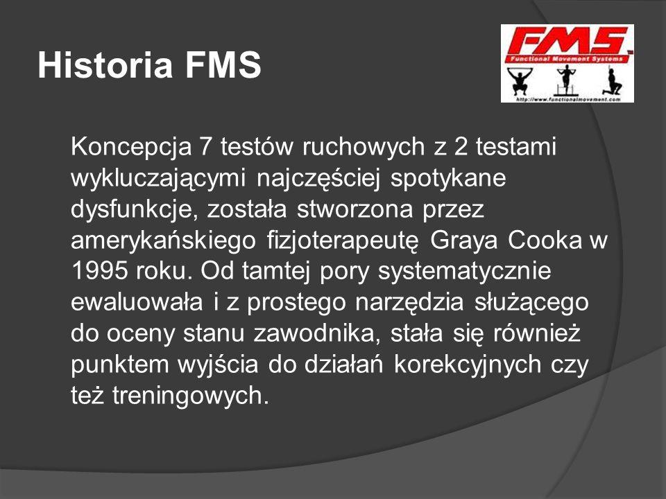 Historia FMS Koncepcja 7 testów ruchowych z 2 testami wykluczającymi najczęściej spotykane dysfunkcje, została stworzona przez amerykańskiego fizjoter