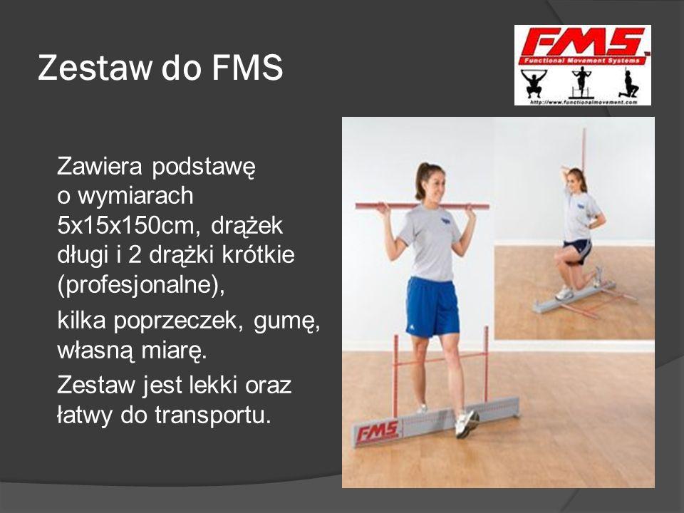 Ocena prób FMS Wynik wykonanej próby (są 3 próby dla każdego testu i punktowana jest najlepsza) oceniany jest w prostej skali jakości ruchu, od 0 do 3 punktów: 3 – bezbłędne, idealne wykonanie próby 2 – zadanie wykonane, ale ruch skompensowany 1 – brak wykonania zadania ruchowego 0 – ból podczas ruchu W razie jakichkolwiek wątpliwości należy przyznać wynik niższy.