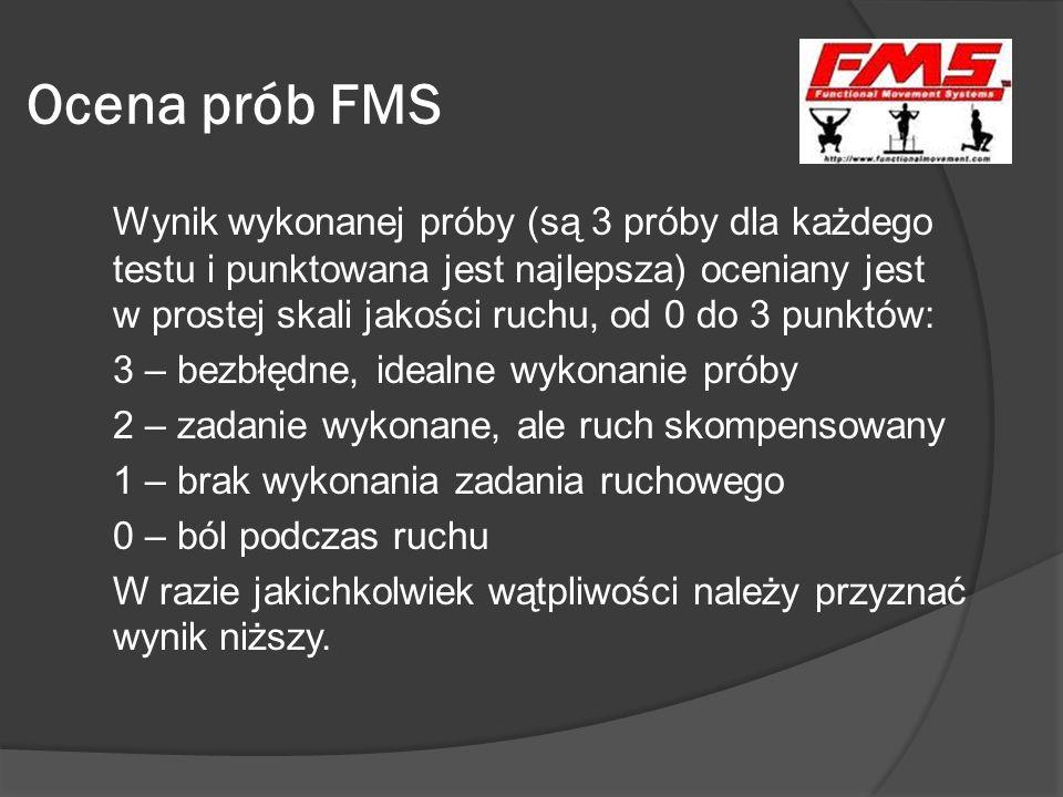 Interpretacja wyników maksymalnie można uzyskać 21 punktów; jeżeli jakikolwiek z testów dał wynik 0 niezbędna jest konsultacja u specjalisty (lekarz, fizjoterapeuta), który dokładnie zdiagnozuje przyczynę i ją wyleczy; uzyskany wynik FMS poniżej 14 punktów oznacza, iż prawdopodobieństwo odniesienia kontuzji wykluczającej z treningu wzrasta o 15%; do zapisu służy specjalna karta oceny FMS.