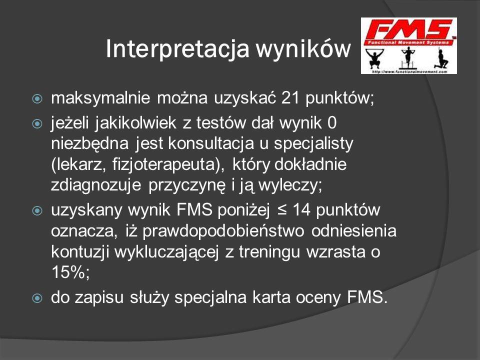 Zalety FMS 7 prostych ćwiczeń oceniających funkcjonalną jakość ruchu; prosta skala oceny jakości ruchu; pozwala określić funkcjonalne ograniczenia i asymetrie, które mogą zmniejszać efekty treningu funkcjonalnego, siłowego lub sportowego i zaburzać czucie ciała; określa ryzyko wystąpienia kontuzji; znajduje słabe ogniwo łańcucha kinematycznego; umożliwia lepsze zindywidualizowanie treningu, co pozwoli osiągnąć korzystniejsze rezultaty.