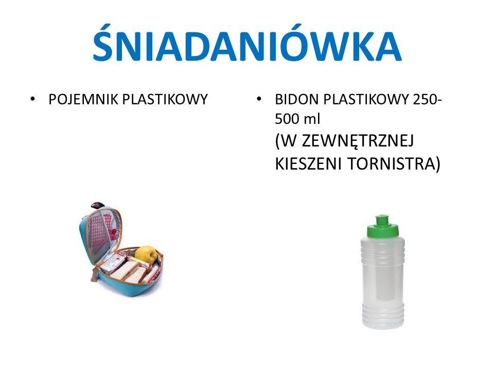 ŚNIADANIÓWKA POJEMNIK PLASTIKOWY BIDON PLASTIKOWY 250- 500 ml (W ZEWNĘTRZNEJ KIESZENI TORNISTRA)
