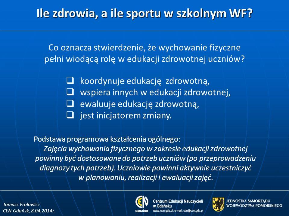 Ile zdrowia, a ile sportu w szkolnym WF.Tomasz Frołowicz CEN Gdańsk, 8.04.2014r.