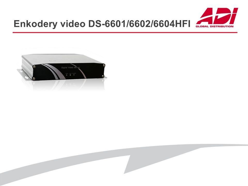 Enkodery video DS-6601/6602/6604HFI PODSTAWOWE CECHY Rozdzielczość: 4CIF@25kl./s Audio: Tak Dwa równoczesne strumienie: Tak Sterowanie PTZ: RS485 Obsł
