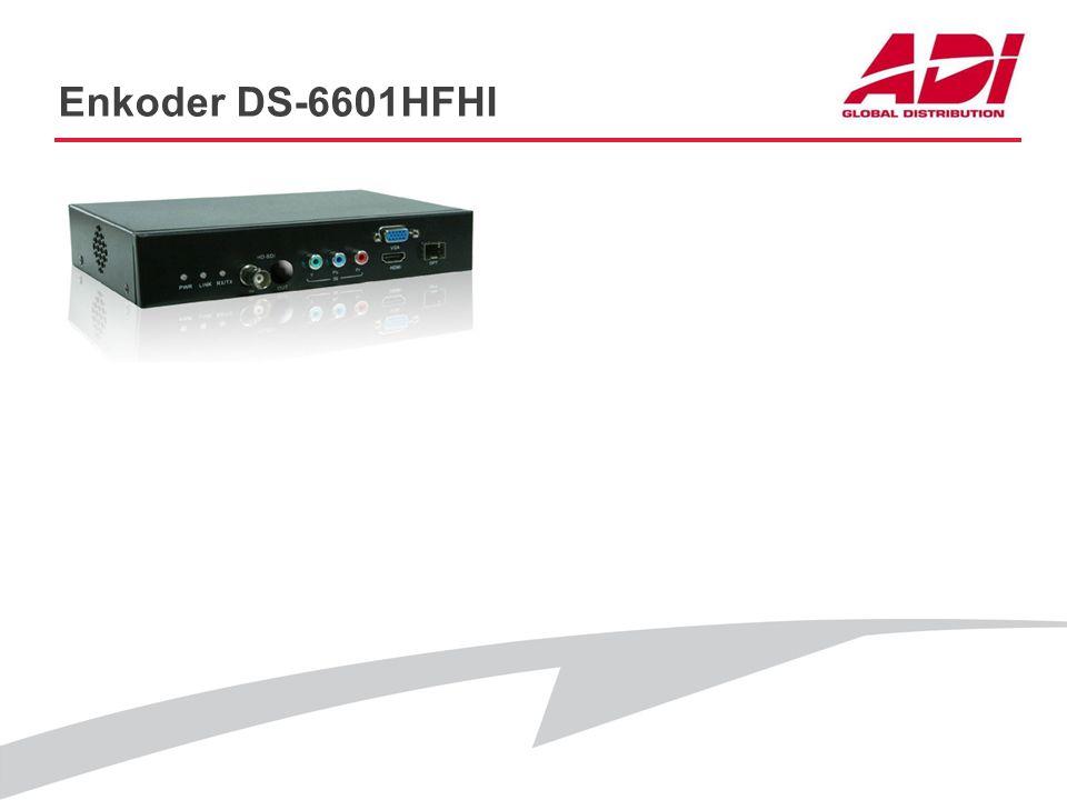 Enkoder DS-6601HFHI PODSTAWOWE CECHY Rozdzielczość: 1080p@25kl./s Wejścia HDMI/VGA/HD-SDI/Y+Pb+YBr Audio Dwa równoczesne strumienie: Tak Sterowanie PT