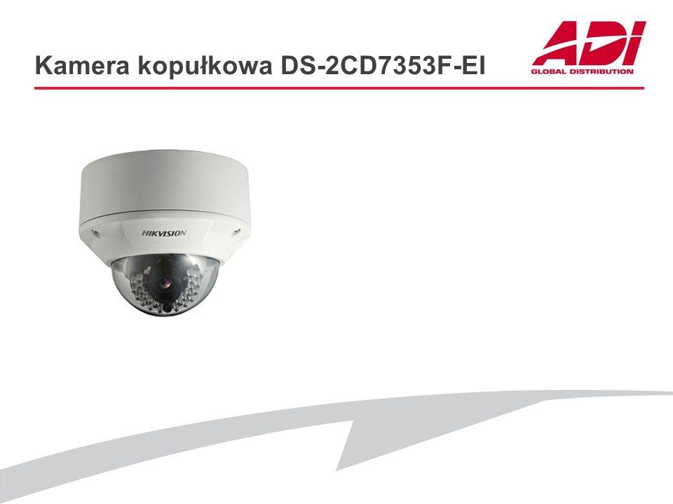 Kamera kopułkowa DS-2CD7353F-EI PODSAWOWE CECHY Rozdzielczość: 1600 x 1200@12.5kl./s Obiektyw: zmienno-ogniskowy 2.7 – 9mm Oświetlenie: 0 Lux (IR) Dod