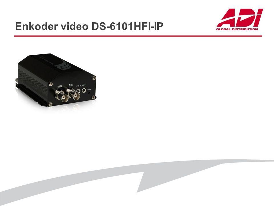 Enkoder video DS-6101HFI-IP PODSTAWOWE CECHY Rozdzielczość: 4CIF@25kl./s Audio: Tak Dwa równoczesne strumienie: Tak Sterowanie PTZ: RS485 Obsługa: ONV