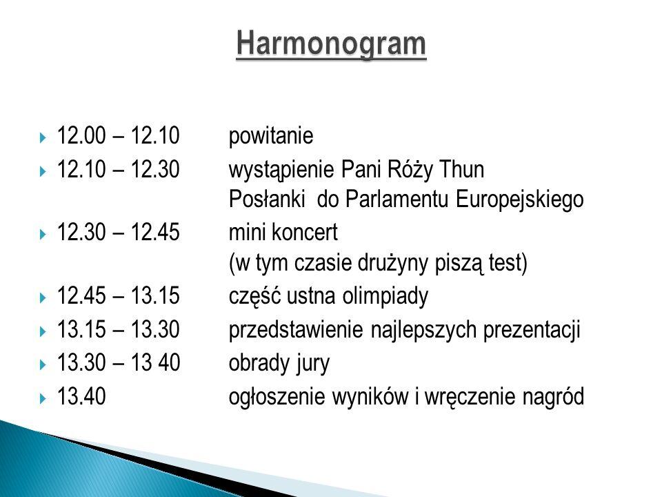 12.00 – 12.10powitanie 12.10 – 12.30wystąpienie Pani Róży Thun Posłanki do Parlamentu Europejskiego 12.30 – 12.45mini koncert (w tym czasie drużyny pi