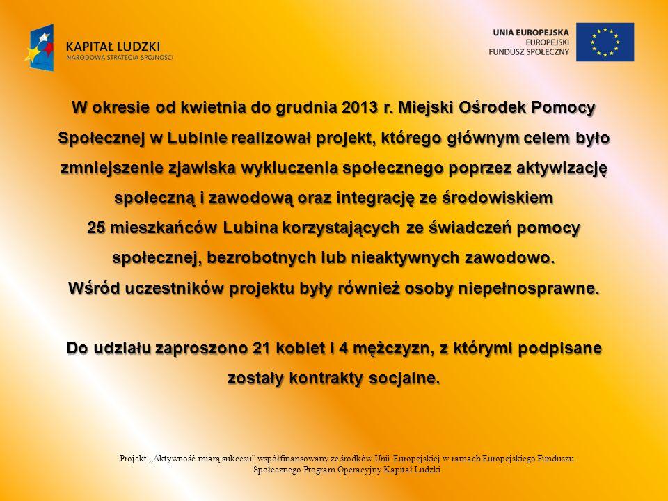 Projekt,,Aktywność miarą sukcesu współfinansowany ze środków Unii Europejskiej w ramach Europejskiego Funduszu Społecznego Program Operacyjny Kapitał