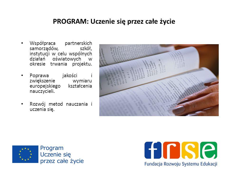 PROGRAM: Uczenie się przez całe życie Współpraca partnerskich samorządów, szkół, instytucji w celu wspólnych działań oświatowych w okresie trwania projektu.