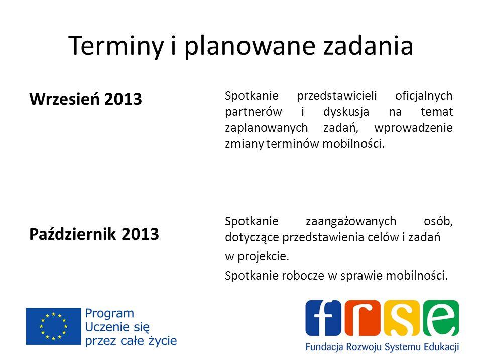 Terminy i planowane zadania Wrzesień 2013 Październik 2013 Spotkanie przedstawicieli oficjalnych partnerów i dyskusja na temat zaplanowanych zadań, wprowadzenie zmiany terminów mobilności.