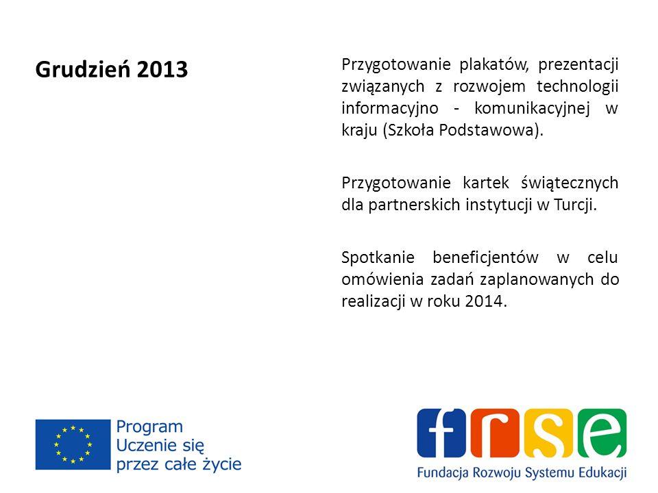 Grudzień 2013 Przygotowanie plakatów, prezentacji związanych z rozwojem technologii informacyjno - komunikacyjnej w kraju (Szkoła Podstawowa).
