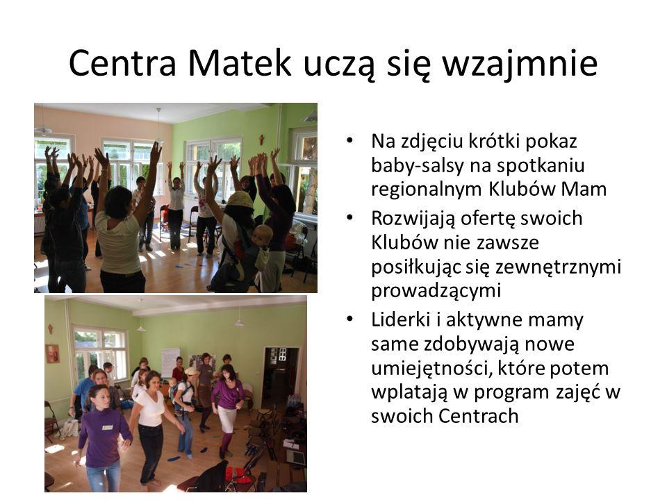 Centra Matek uczą się wzajmnie Na zdjęciu krótki pokaz baby-salsy na spotkaniu regionalnym Klubów Mam Rozwijają ofertę swoich Klubów nie zawsze posiłk
