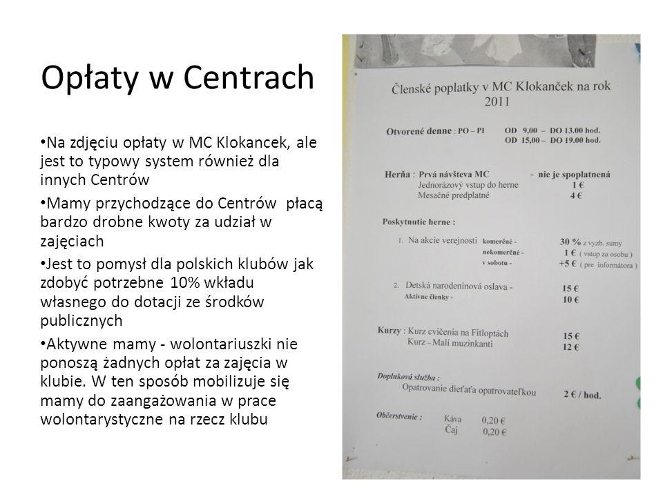 Opłaty w Centrach Na zdjęciu opłaty w MC Klokancek, ale jest to typowy system również dla innych Centrów Mamy przychodzące do Centrów płacą bardzo dro