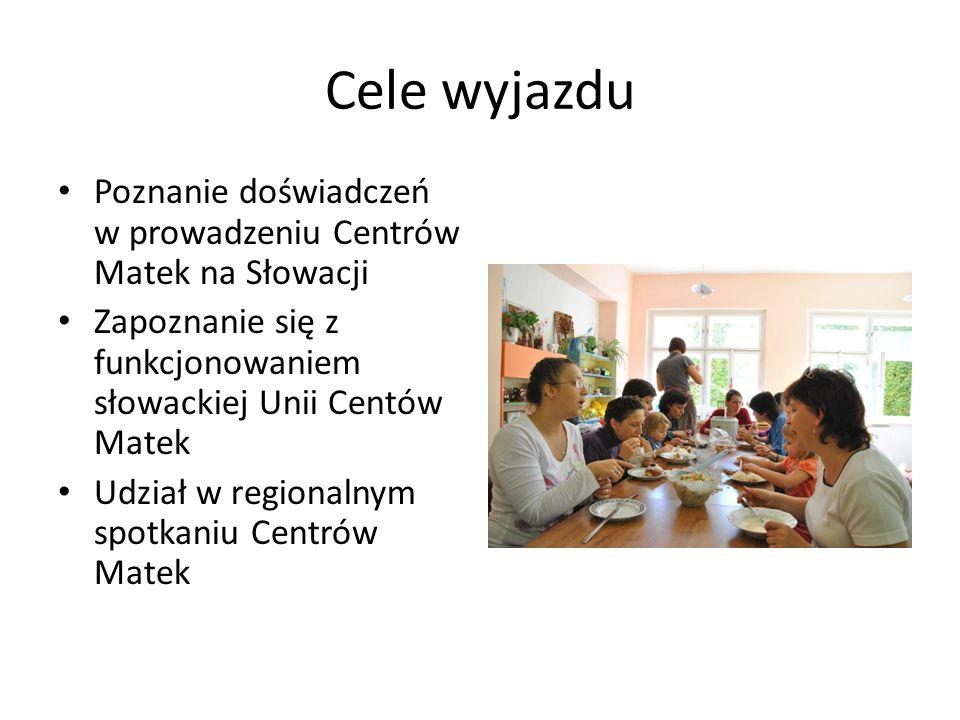 Cele wyjazdu Poznanie doświadczeń w prowadzeniu Centrów Matek na Słowacji Zapoznanie się z funkcjonowaniem słowackiej Unii Centów Matek Udział w regio